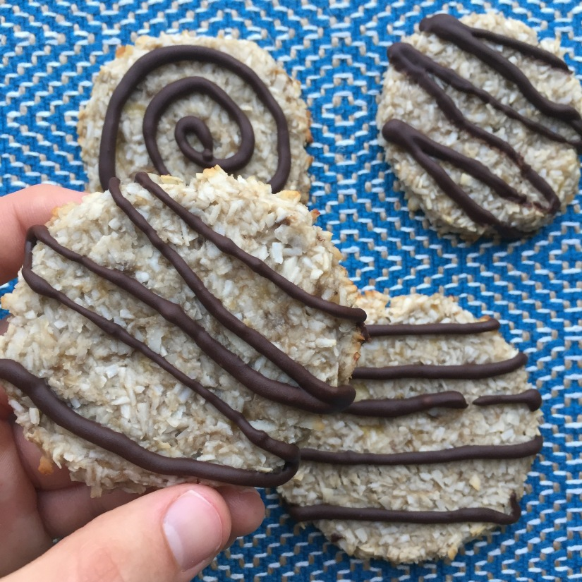 Banana Coconut Cookies - Blue Background