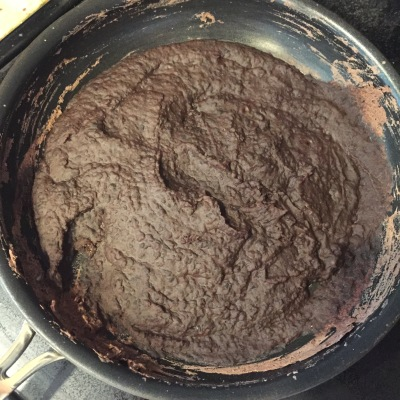 Refried Black Beans in Pan